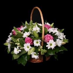 Basket - White & Pink Mix